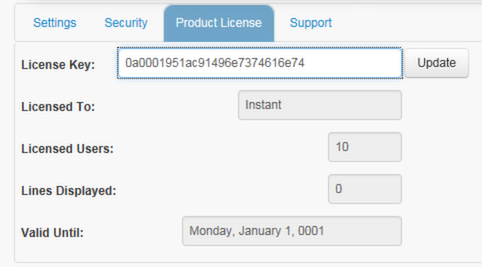 Product License Settings